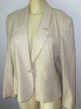 Ladies L Vintage Saville Quality 80% Wool Business Career Blazer Beige LKN