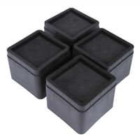 "4 Pcs 3"" Stackable Heavy Duty Bed Risers Furniture Sofa Chair Table Riser Black"