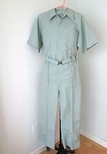 MINTY Vtg Green Pinstripe Mechanic Jumpsuit Coveralls Adjust Elastic Belt L/XL