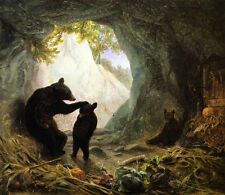 """Bear and Cubs  by William Holbrook Beard  14""""  Paper Print Repro"""