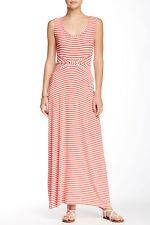 NWT! Max Studio Stripe Inset Waist Knit Maxi Dress   SZ XL   A123