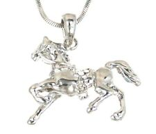 New 3D Horse With Saddles Austrian Crystal Pendant Silver .925 Chain Necklace