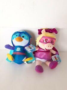 """2 Disney Junior Muppet Babies Miss Piggy Summer Penguin 9"""" Plush Dolls"""