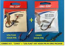 "Eagle Claw ""Usa Flag� + ""Camo"" Fish Hook Hat Pin/Money Clip In Orig Packaging!"