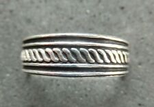 *Bn* Striped Design *strong, sturdy ring* .925 New listing Solid Silver Toe Ring X 1
