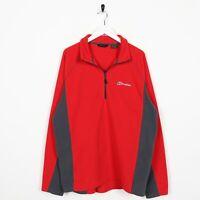 Vintage BERGHAUS Small Logo 1/4 Zip Fleece Top Red   XL