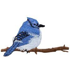 "Bird Applique Patch - Blue Jay, Tree Branch 2-7/8"" (Iron on)"