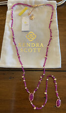 NWT Kendra Scott Bethany $125 Long Beaded Y Necklace Rose Gold & Maroon Jade