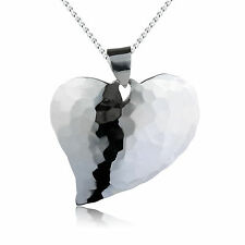 Sterling Silver Fine Quality Hammered Heart Pendant + Free Chain