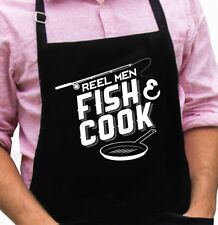 Reel Men Fish and Cook Funny Novelty Apron Gift for Husbands or Dads by ApronMen