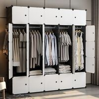 "Portable Wardrobe Clothes Closet Plastic Dresser, Black, 5x5 Tiers, 18"" Depth"