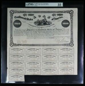 1862 CONFEDERATE STATES OF AMERICA $1000 BOND 993 ISSUED PMG CHOICE VF 35