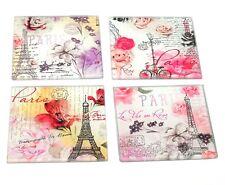 Glass Coasters Set of 4 Paris Design Flower Glassware Kitchen Home Drinks Mat