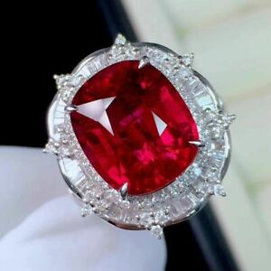 11Ct Cushion Ruby Syn Diamond Halo Art Deco Statement Ring White Gold Fns Silver