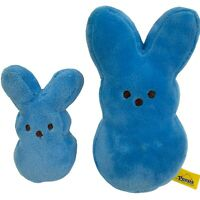 Peeps Plush Bunnies Easter Blue Lot of 2 6.5 in and 4 in 2014 Stuffed animal
