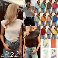 Women's Ladies Padded Shoulder T-Shirt Italian Sleeveless Tee Top Summer Fashion