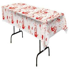 BLOODY HANDS PLASTIC TABLECOVER GORY ZOMBIE HALLOWEEN PARTY DECORATION BG00027