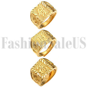 3pcs Gold Bless All Men's Gold Plated Kanji Rich/Luck/Wealth Adjustable Ring Set