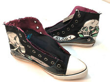 Ed Hardy Women High Top Skulls Glory Sneakers Shoes Size 7 New Black