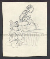 WALT DISNEY STUDIOS SNOW WHITE STORYBOARD/CONCEPT DRAWING OF DOC & DOPEY (1937)
