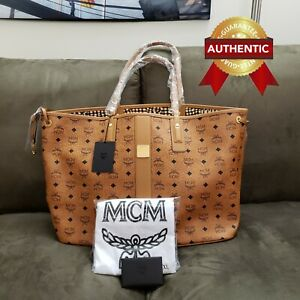 NEW Authentic MCM Large Reversible Liz Shopper tote bag / COGNAC
