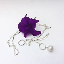 Silver and Pearl Lariat Necklace - Long Silver Necklace, Handmade