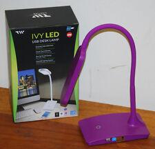 """Purple"" Ivy LED USB Desk Lamp by TW Lighting"