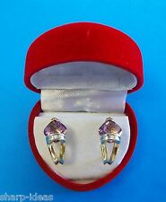Ladies Genuine Amethyst & Diamond Earrings - Cushion Shape - 14k Yellow Gold