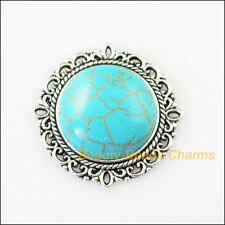 2Pcs Retro Tibetan Silver Turquoise Round Charms Pendants Connectors 31mm