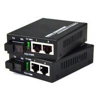 1 Pair 10/100/1000Mbps Fiber Optic Ethernet Media Converter 2 RJ45 1 SC Port