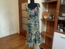 UNGARO FEVER SILK CHIFFON MULTICOLORED FLORAL SUMMER TIED SHOULDERS DRESS-42 IT