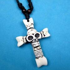 Mens Bone Skull Cross Pendant Necklace/ Black Adjustable Cord/ U.S Seller!