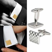 Stainless Steel Silver Square Vintage Men's Wedding Gift Grid Laser Cuff Links