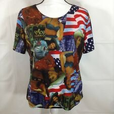 Jessica Max Womens Blouse Western Cowgirl Short Sleeve Size XL