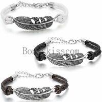 Retro Feather Women's Men's Multilayer Leather Handmade Cuff Wristband Bracelet