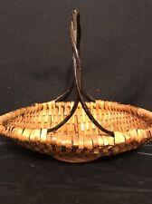 Vintage 2 tone Wicker Oval Carry Fruit Basket Stick / Twig Handle 10 x 12