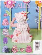 McCalls M7342 Infants' Back-bow Dresses Panties Leggings & Bucket Hat by S