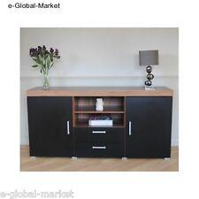 Black Sideboard 2 Door 2 Drawer Cupboard Solid Cabinet Furniture Living Room