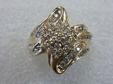 Diamond .80 TCW  Cocktail Cluster Ring Solid 10K Yellow Gold Sz.6
