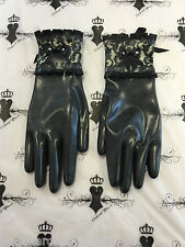 R1573 Custom Made S Latex Rubber Bordelle Gloves Black/Trans SECONDS RRP £65.00