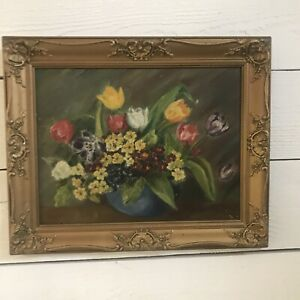 VINTAGE very OLD Oil Painting VASE OF FLOWERS Floral Gold Frame