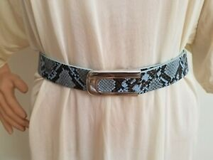 "H by HALSTON Women Belt L 34 - 35"" Blue Snake Embossed Leather Reversible"