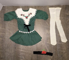 NWOB American Girl KIT RUTHIE Green Holiday Dress Christmas Outfit Bow Tights