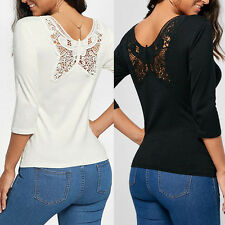 Women's  Long Sleeve Shirt Casual Lace Blouse Loose Cotton Tops TShirt beautiful