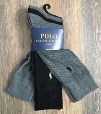Polo Ralph Lauren Men's Dress Socks 3 Pair Gray Black Crew NWT Solid & Print