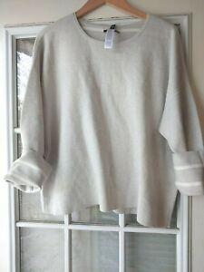 EILEEN FISHER Organic Cotton /Silk Round Neck Box Top Dark Pearl /White Sz XL