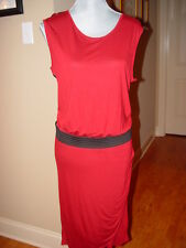 MNG New Shift Dress Brick Red and Back Knit Sleeveless Size 10  D150