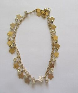 Anklet - 18K Gold Plated- dangly flowers and clear round stones-10""