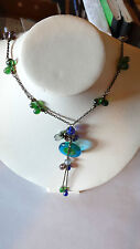 Vintage Clear Green Blue Turquoise Carnival Glass Bead Necklace