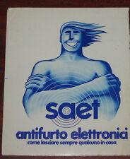 "Adesivi Anni ' 80 "" SAET ANTIFURTI ELETTRONICI """